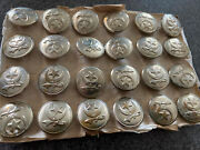 Brand New Old Stock 24 Buttons Antique Masonic Shriners Sword Star Moon Uniform