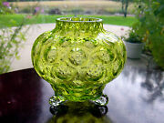 Victorian Yellow Green Coin Dot Optic Crackle Art Glass Tri Footed Cabinet Vase