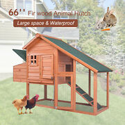 Wooden Large Chicken Coop Hen Hutch Small Animal House Cage W/ Run And Nesting Box