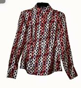 Gorgeous Ann Taylor Womenand039s 2 Multi Color Chain Link Print Silk Blouse Perfect