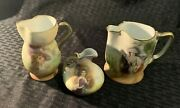 Antique Set Of 3 Royal Bayreuth Tapestry Porcelain Small Creamer Pitchers Euc