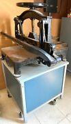Antique Vintage Challenge Industrial Guillotine Paper Cutter With Cart Stand