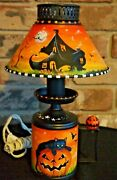 Halloween Hand-painted Vintage Electric Lamp Old Witch In The Shoe-shirley Olsen