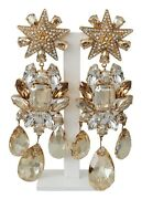 Dolce And Gabbana Earrings Gold Brass Clear Crystal Strass Star Dangling Clip On