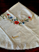 Handmade Cotton Lace Embroidery Linen Round Tablecloth 8 Napkins New R 3/2