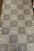 Unique Antique Hand Embroidered Hand Crochet Linen Tablecloth 3r-o2