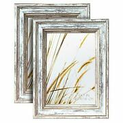 Artbyhannah 2 Pack 5x7 Inch Farmhouse Rustic Picture Frame Sets With Distress...