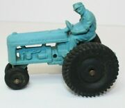 Vintage Blue Auburn Toy Tractor W/driver Rubber Usa 4 Long W/allstate Tires