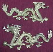 Set Of 2 Vintage Brass Dragon Wall Hanging, 17 X 8 Each, Made India