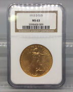 1913 D Gold Eagle 20 Coin Ngc Ms 63