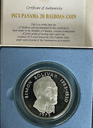 Republic Of Panama 1973proof 20 Balboas Coin 2000 Grains Sterling Silverbox And C