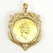 Maple Leaf 1/4oz Coin Yellow Gold Pendant Top Diamond Free Shipping Used
