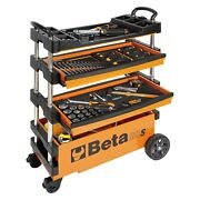 Beta Tools 027000203 Red 2-drawer Folding Tool Trolley For Outdoor Jobs