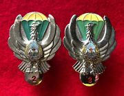 Romanian Air Force Paratrooper Parachute Badge 80and039s R.s.r. - 2nd And 3rd Class
