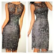 Adrianna Papell Gray Lace Overlay Fitted Cocktail Formal Evening Dress