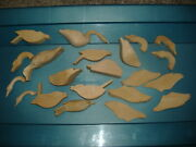 Vtg Duck Goose Bird Carved Wood 21 Decoy Pieces Paper Instuctions Eyes For Head