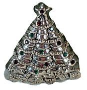 Vintage Silver Tone Christmas Tree Pin Brooch And Necklace Enhancer Rhinestones