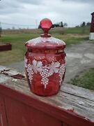 Outstanding Biscuit Barrel Cranberry Glass Cookie Jar Glass Lid Hand Painted