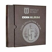 World Coin Collection Album 160 Pockets For 5 Rupees Definitive Coins - Brown