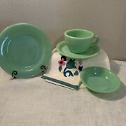 4/fire King Jadeite Restaurant Thick Handle Mug, Plate, Saucer, And Bowl Minty