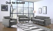 2pc Gray Sofa Set Black Leg With Gold Tip Channel Tufting Design Home Furniture
