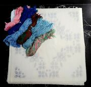 Vintage Quilt Block Kit 25 Blocks 16x16 Embroidery Stamped Cross Stitch Blues