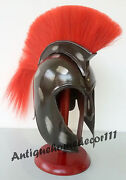 Troy Medieval Knightgreekarmor Helmet Armour Black Antique With Red Plume