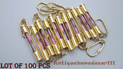 Lot Of 100 Pcs Collecteable Vintage Solid Brass Sandtimer Key Chain Ring Gift