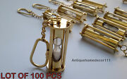 Lot Of 100 Pcs Nautical Brass Sand Timer Key Chain Collectible Vintage Gift Item