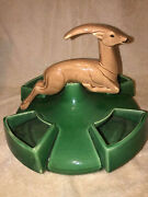 Mccoy Pottery Leaping Antelope Centerpiece Planter 1955 Great Glaze Rare Jumping