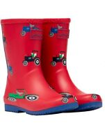 Joules Roll Up Tractor Print Wellies - Sizes Kids 8 To Uk 3 - Free Pandp