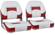 Set Of 2 Low Back Folding Padded Boat Seats Marine Grade Vinyl White Red Chairs