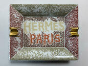 Hermes Paris Ashtray Green Red Pattern Porcelain Tray Accessory Case With Box