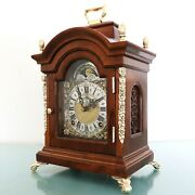 Warmink Mantel Clock Vintage Top Moonphase High Gloss Double Bell Chime Dutch