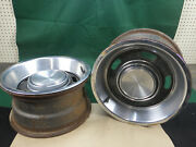 Pair Ford 14x7 5 Slot Styled Steel Wheels W/caps And Rings Mustang Cougar Torino