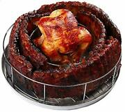 Rib Rack For Smoking Grillings Holds 5 Ribs And A Whole Chicken Round Shape