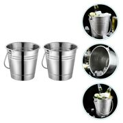 2pcs Stainless Steel Ice Bucket Sturdy Beer Bucket For Home Ktv
