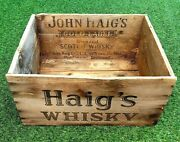 Vintage Wooden Crate John Haigand039s Scotland Co Gold Label Scotch Whisky Box 1970sand039