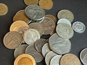 Money Bag - Small Collection Of World Coins Prior Eu And Indian Paper Money