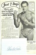 Charles Atlas Signed Autograph. Comes With Two Classic Magazine Ads. Authentic