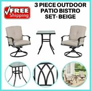 Outdoor Patio Bistro Set Swivel Rocking Chair Table Set Of 3 Chair Furniture Set