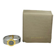 Bvlgari Tubogas 18k Yellow Gold And Stainless Black Dial Watch Bb 23 2t W/ Pouch