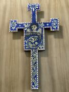 Vintage Old Spanish Colonial Cross Of Painted Wood 24 Inches X 14 Inches