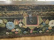 Antique Old Spanish Colonial Wedding Chest Floral Design + Iron Lock 24 X 10 X13