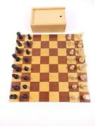 Vtg German Original Wooden Chess Carved Pieces And Folding Board Game Set, Germany