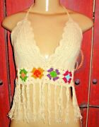 Beach By Exist Hand Made Womenand039s Crochet Fringed Bikini Top Size S/m