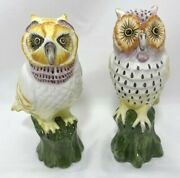 Set Of 2 Colorful Ceramic Owls On Perch Figurines 5.75h Vintage Made In Italy
