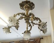 Superb Antique French Rococo Style 6 Light Brass And Frosted Glass Chandelier