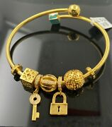 22k Bangle Bracelet Solid Gold Ladies Exotic Dangling Charms With Enamel Br5277