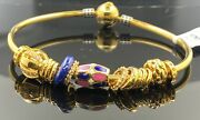 22k Bangle Bracelet Solid Gold Ladies Exotic Dangling Charms With Enamel Br5269